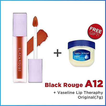Son Kem Lì Black Rouge A12 Air Fit Velvet Tint + Tặng 1 Sáp dưỡng môi Vaseline Lip Therapy (Original, Rosy Lips hoặc Creme Brulee)
