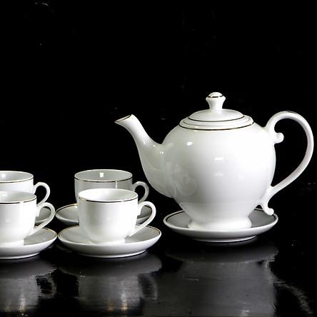 Quà Tặng Bộ bình trà sứ Vại Vẽ Chỉ Vàng Kim 1l, bộ tách trà