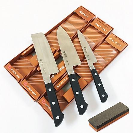 Bộ 3 Dao ADF nấu bếp yêu thích cán nhựa ABS cao cấp tiêu chuẩn của Nhật Bản + đá mài dao