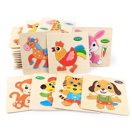 Đồ chơi cho bé làm quen với ghép hình - combo 10 tranh ghép 3D bằng gỗ MK005