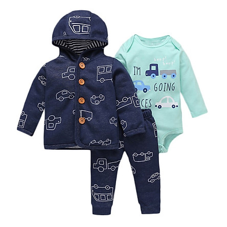 Baby Boy Clothes Sets Long-Sleeved Coat Trousers Boys Cartoon Letter Love Print Pants Hooded Jacket