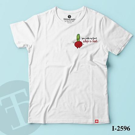 ATN-2596 Áo Thun Nữ Tay Ngắn In Logo You make my heart skip a beat