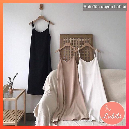 Váy Đũi Hai Dây Suông Dài Sexy - Đầm Nữ 2 Dây Form Rộng Trơn Basic, Labibi Closet