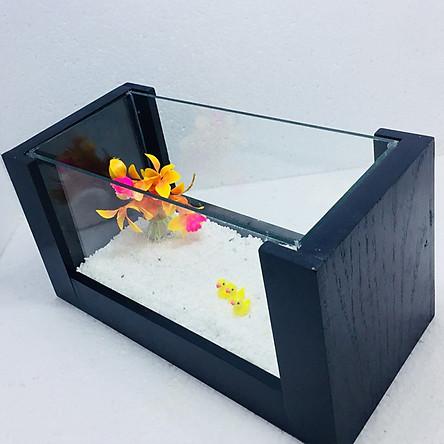 Bể cá mini để bàn khung gỗ