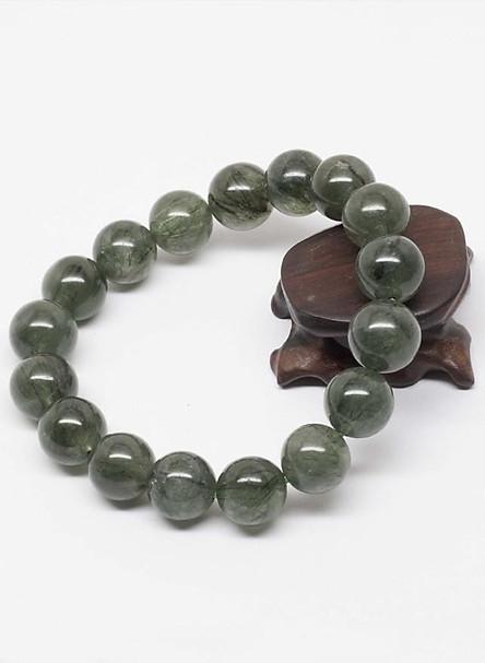 Vòng tay phong thủy đá thạch anh tóc xanh Myanmar (11mm) Ngọc Quý Gemstones