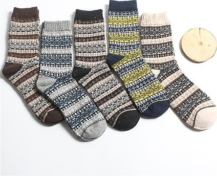 Tất nam cao cổ họa tiết thổ cẩm đi giày tây - Bộ 5 đôi cao cấp
