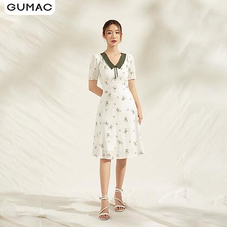Đầm nữ cao cấp thiết kế hoa phối cổ DA1152 GUMAC chất lụa mềm mịn thoáng mát