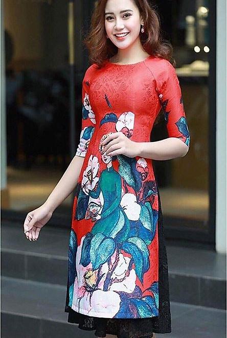 Sét áo dài cách tân  họa tiết  cô tấm  chân váy ren - AD7257
