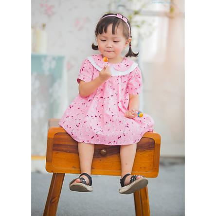Váy cổ sen hai lớp hồng hoa nhí (HK479)