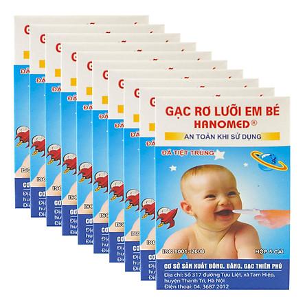 Combo Bịch 10 Hộp Gạc Rơ Lưỡi Trẻ Em Hanomed (5 Cái x 10)