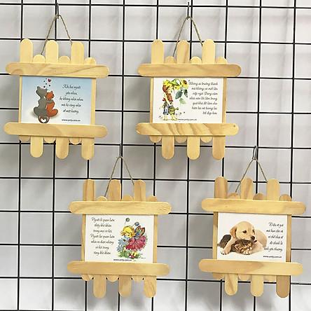Quà tặng động viên tranh treo handmade (mỗi tranh có thông điệp khác nhau) - Bộ 4 tranh so le chủ đề hoạt hình và thú cưng