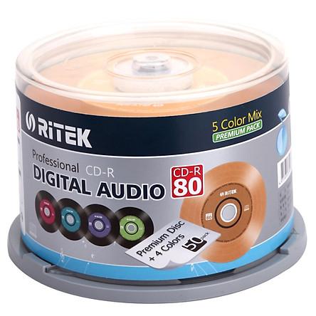 RITEK (RITEK) CD-R 52 speed 700M production of colorful vinyl music disc barrel 50 burner