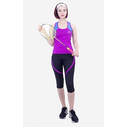 Bộ tập thể thao lửng nữ áo 3 lỗ quần phối viền màu Tím