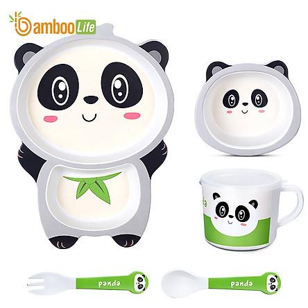 Bộ khay ăn cho bé Bamboo Life BL040 hàng chính hãng từ sợi tre thiên nhiên Dụng cụ ăn dặm cho bé Bộ chén bát ăn dặm cho bé Đồ dùng ăn dặm cho bé