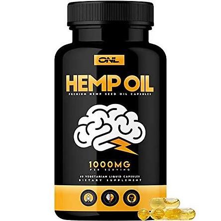 Hemp Oil Capsules 1000MG - Premium Organic Capsules Reduce Pain, Anxiety, and Stress (60 Vegetarian Liquid Capsules) - Best All Natural Omega 3, 6, 9 Brain Boost Supplement, Memory, Focus, Clarity.