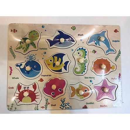 Combo 2 bảng học núm gỗ( chủ đề động vật hoang dã và sinh vật biển)