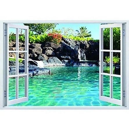 Tranh dán tường 3d cửa sổ hồ nước ép kim sa có sẵn keo CS73
