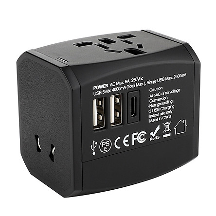 Universal Travel Adapter Worldwide All in One Phone Wall Charger Charging Ports for USA EU UK AU