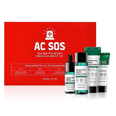 Bộ Kit 4 Sản Phẩm Dưỡng Da Làm Giảm Mụn Some By Mi AHA-BHA-PHA 30 Days Miracle AC SOS Kit