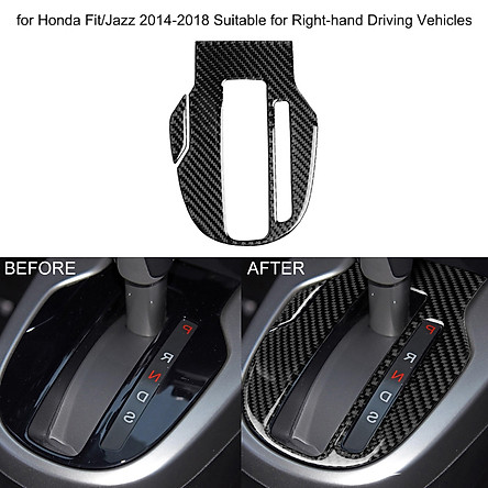 Car Gear Panel Carbon Fiber Stickers Shift Knob Trim Replacement for Honda Fit/Jazz 2014-2018 Suitable for Right-hand