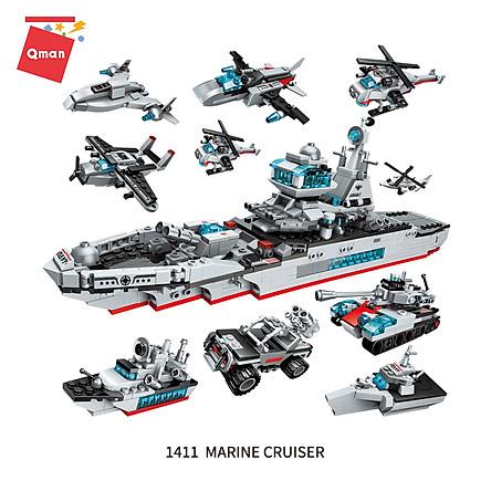 Đồ chơi xếp hình, lắp ráp lego Qman 1411 - Tàu tuần dương biển (700 mảnh ghép)