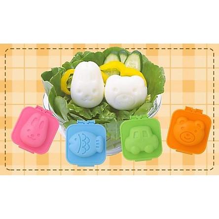 Combo khuôn tạo hình cơm, trứng hình gấu và thỏ, cá và ô tô nội địa Nhật Bản