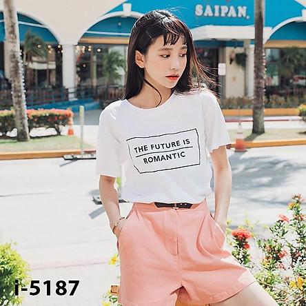 ATN-5187 Áo Thun Nữ Tay Ngắn THE FUTURE IS ROMANTIC