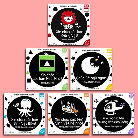 Combo 6 cuốn sách Ehon Song Ngữ Kích Thích Thị Giác Cho Bé 0-3 tuổi Black and White books