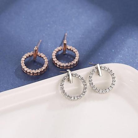 Bông tai bạc nữ dạng tròn đính đá khuyên tai nữ phong cách Hàn Quốc tặng thẻ Vcone