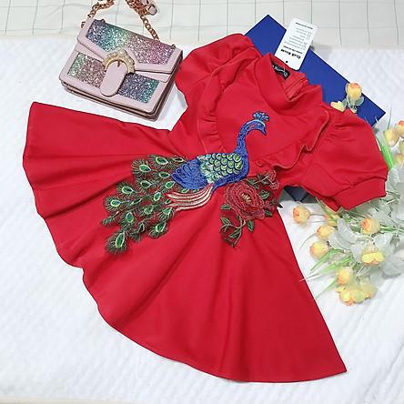 Đầm váy công chúa cho bé gái thun umi hình công cho bé từ 10kg đến 24kg (màu đỏ)