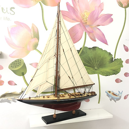 Mô hình tàu thuyền gỗ - du thuyền đua Shamrock V - Thân dài 50cm - Sơn Đen/Đỏ