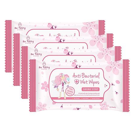Combo 4 Gói Khăn Ướt Kháng Khuẩn Au Fairy Hương Hoa Đào (10 Miếng x 4)