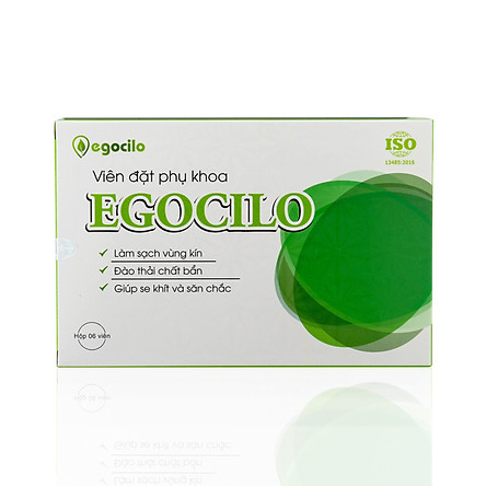 Viên đặt phụ khoa Egocilo se khít chống nấm ngứa và săn chắc an toàn cho phụ nữ hộp 6 viên (120g) làm sạch vùng kín, bệnh khí hư, viêm ngứa, đào thải các chất bẩn, tăng đàn hồi cho các hoạt động co dãn - Hàng chính hãng 100%