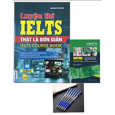 Bộ sách Luyện thi IELTS thật là đơn giản tặng cuốn IELTS step by step kèm bút bi