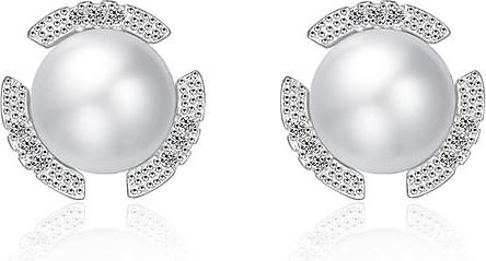 Bông tai nữ Hoa đáng ngọc trai bạc