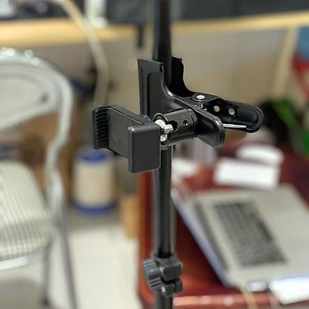 Kẹp điện thoại đa năng vào thân tripod / giá đỡ 3 chân, hoặc vào bàn ghế, cửa kính hỗ trợ livestream, chụp ảnh, quay video nhiều máy