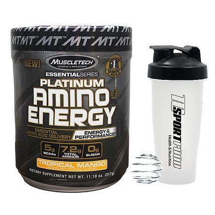 Combo BCAA Platinum Amino Plus Energy của Muscle Tech hương Tropical Mango (XOÀI) hộp 30 lần dùng hỗ trợ tăng sức bền, sức mạnh, đốt mỡ giảm cân mạnh mẽ, phục hồi cơ nhanh chóng cho người tập GYM và chơi thể thao thao & Bình lắc 600ml (Mầu ngẫu nhiên)