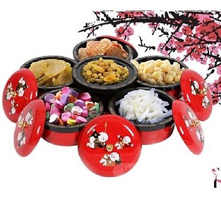 Khay mứt tết hình cánh hoa 6 ngăn phát nhạc- Khay đựng đồ ngày tết: Bánh kẹo, trái cây, đồ sấy...