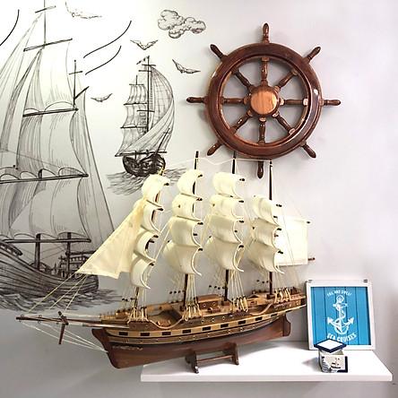 Mô hình thuyền gỗ trang trí France II - thân 60cm - loại 2