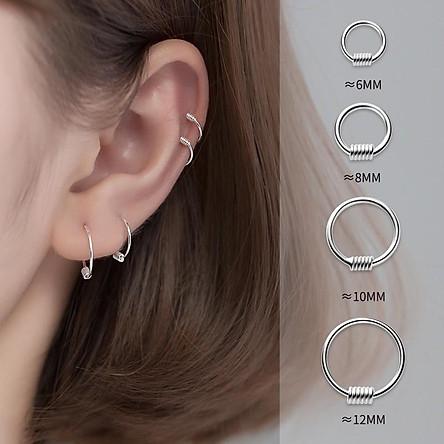 Khuyên tai bạc nữ vòng tròn lò xo, bông tai bạc Duyson