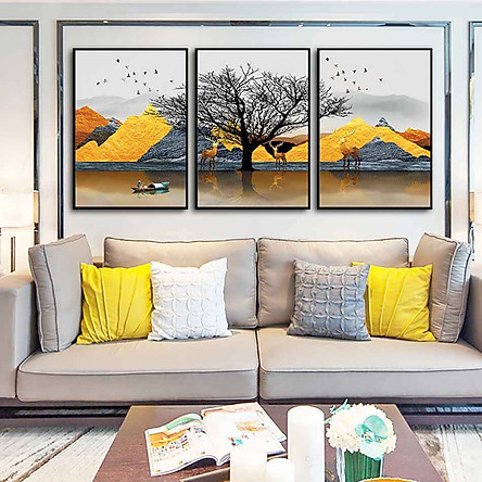 Bộ 3 tranh canvas treo tường Decor Họa tiết cách điệu hươu và sông núi - DC126