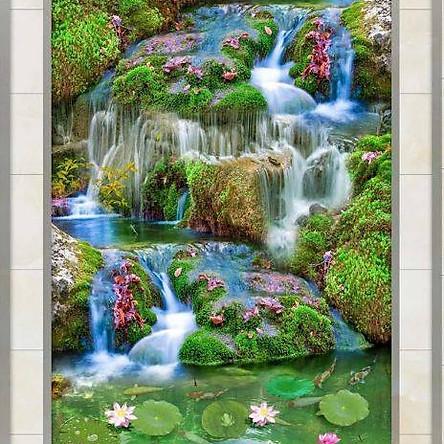 Tranh dán tường 3D thác nước và hoa sen TDT09
