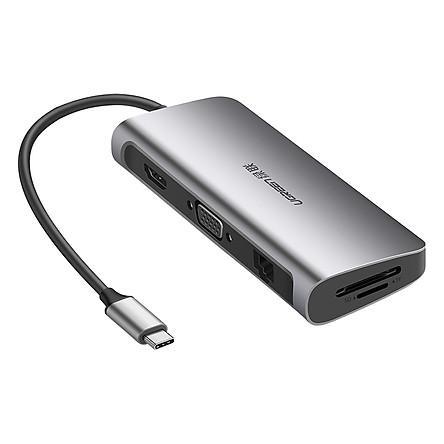 HUB USB Type-C Đa Chức Năng 2 x USB 3.0 ; 1 x HDMI 1 x VGA; 1 x SD Card ; 1 x USB-C; 1 x LAN Ugreen (40873) - Hàng Chính Hãng
