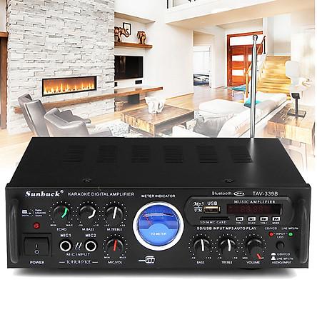 800W Bluetooth Karaoke Stero Power Amplifier With VU Meter FM 2 Channel USB SD