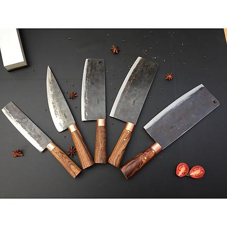 Bộ dao 5 món chuôi gỗ cẩm chỉ Phúc Sen Cao Bằng chất lượng cao ( Mã số C6-DPS)
