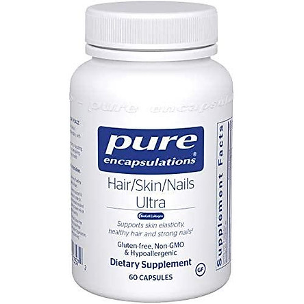 Pure Encapsulations - Hair/Skin/Nails Ultra - Hypoallergenic Supplement Supports Skin Elasticity, Hydration, Hair, and Nails - 60 Capsules