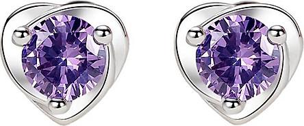 Bông tai nữ trái tim bạc pha lê tím R059