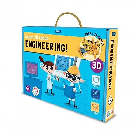 Bộ xếp hình mô hình giấy Kỹ sư tương lai hãng Sassi Junior 3D modeling LEARN ALL ABOUT... ENGINEERING!