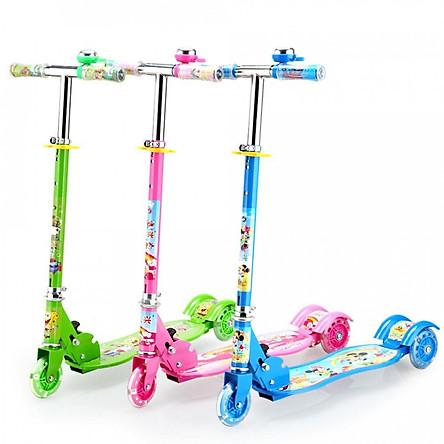 Xe trượt scooter 3 bánh phát sáng, có chuông cho bé (giao màu ngẫu nhiên)