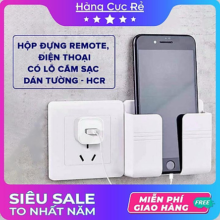 Hộp đựng dán tường Freeship Kệ để remote, điều khiển tivi, điều hòa, điện thoại 2IN1 HCR - hàng loại 1